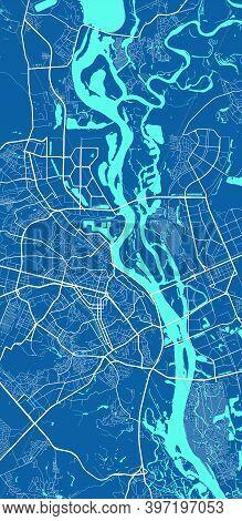 Detailed Map Of Kyiv Kiev City Administrative Area. Royalty Free Vector Illustration. Cityscape Pano