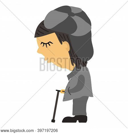 Sad Old Blind Man In A Gray Striped Cap With A Visor, Closed Eyes In A Coat With A Dark Gray Collar