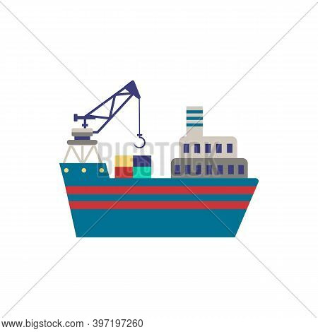 Crane Barge Icon. Simple Element From Port Collection. Creative Crane Barge Icon For Web Design, Tem