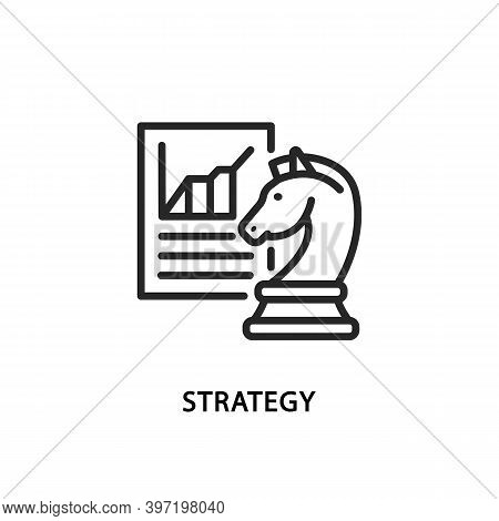 Business Strategy Flat Line Icon. Vector Illustration Chess Knight In Front Of Of Graph.