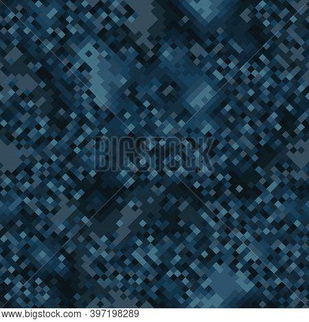 Military Camouflage Seamless Pattern. Navy Marine Digital Pixel Style.