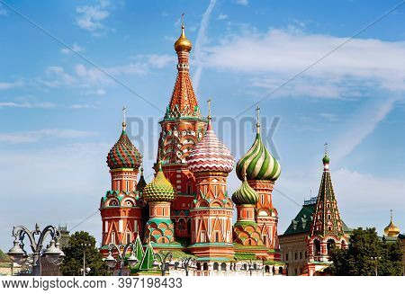 St. Basil's Cathedral. Orthodox church on Red Square in Moscow, a monument of Russian architecture.