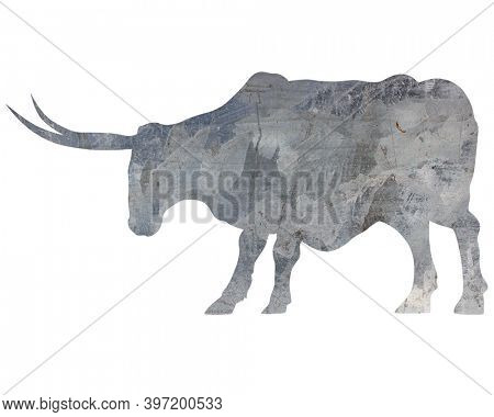 Metal bull with big horns. Isolated silhouette on white background