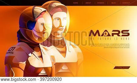 Vector Illustration Featuring 2 Martian Astronauts In Confidence Standing Together And Ready For The