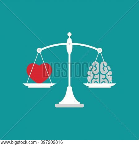 White Mechanical Scales With Brain And Red Heart In Pans. Love, Like, Sympathy Value, Solution And R