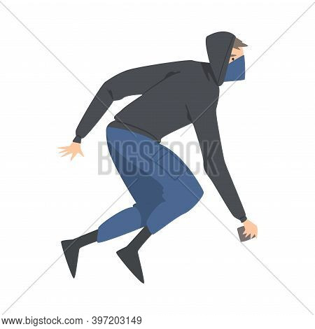 Aggressive Man Radical With Covered Face Engaged In Street Riot Vector Illustration