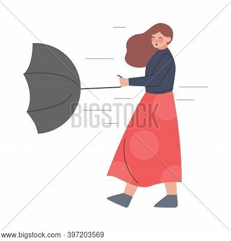 Young Woman Struggling Against Wind Holding Umbrella In Rainy Autumn Day Vector Illustration