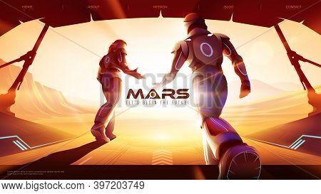 Two Astronauts Are Walking Out From The Spaceship To The Outside On Mars, Ready For The Greatest Exp