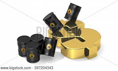 Black Crude Oil Barrels With Golden Dollar Sign, 3d Rendering