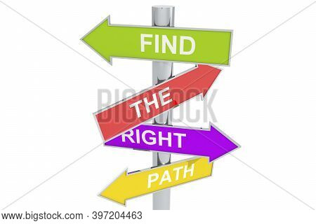 Direction Post With Find The Right Path Labels, 3d Rendering