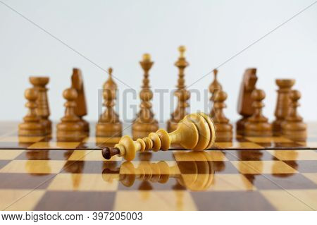 A Checkmate The White King In Wood Chess