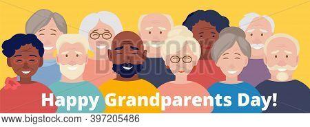 Grandparents Day Poster. Happy Elderly Characters, International Old People Vector Banner Grandparen