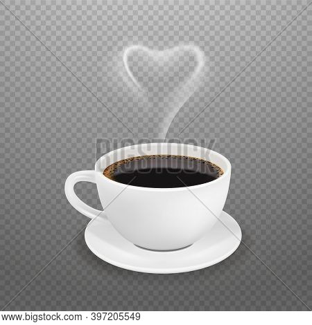 Realistic Coffee Cup. Hot Heart Steam, White Espresso Americano Mug. Morning Drink For Energy Vector