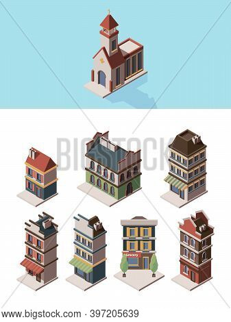 Historic Buildings. Old Vintage 3d Houses And Retro Construction Objects Vector Isometric Collection