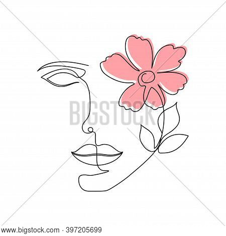 One Line Woman Face With Flower And Leaves. Continuous Line Drawing Of Girl Face And Flower. Beauty