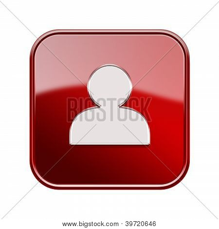 User Icon Glossy Red, Isolated On White Background