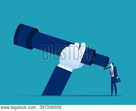A Businessman Using A Telescope. Expansion Looking For Investment. Big Hand And Big Telescope