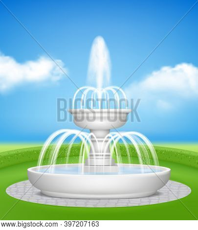 Fountain In Garden. Water Jet Splashes Spray On Decorative Grass Outdoor Realistic Fountains Vector