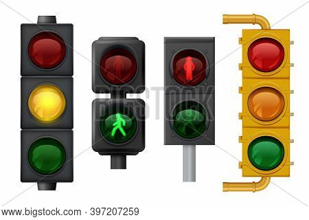 Traffic Lights Realistic. Urban Light Objects On Road Vector Signs For Transport. Traffic Stoplight