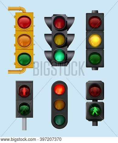 Urban Traffic Lights. Signs For City Vehicles Lighting Objects For Road Cross Direction Vector Reali