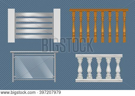 Balcony Handrails. Building Stairway Constructions For Terrace Wooden Glass Or Metal Railing Vector