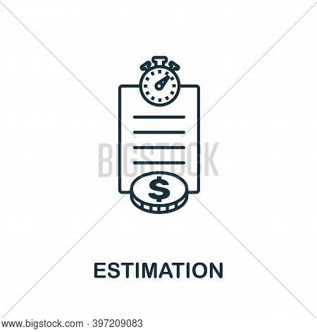 Estimation Icon. Line Style Element From Agile Collection. Thin Estimation Icon For Templates, Infog