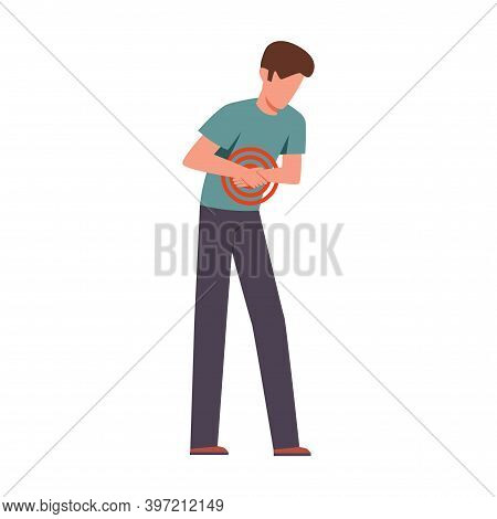 Man Suffering From Abdominal Pain. Male Young Character Bending Over And Holding His Belly, Painkill