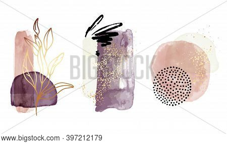 Watercolor Abstract Shapes, Geometric Transparent Elements In Gold Violet Bohemian Aesthetics. Perfe