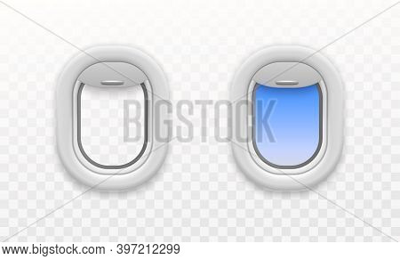 Airplane Open Window. Plastic And Glass Plane Windows, Empty And With Blue Sky View, Fuselage Portho