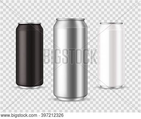 Metallic Cans. Realistic Black, Silver And White Tin Mockup, Front View Marketing Branding Template