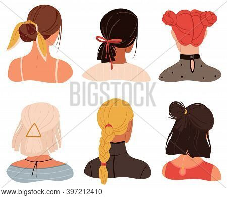 Female Stylish Hairstyles And Accessories. Young Women Haircuts Back View Heads, Creative Modern Acc