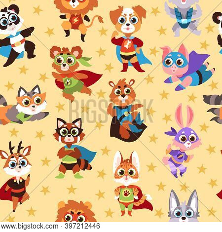Hero Animals Seamless Pattern. Funny Kids Superhero Beasts, Costume Mask Characters, Various Comic S