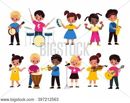 Children Music Orchestra. Kids Music Multiracial Group, Happy Girls And Boys Play Different Instrume