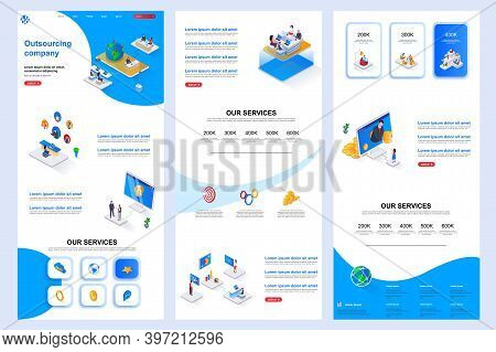 Outsourcing Company Isometric Landing Page. It Outsourcing, Freelancers Recruitment Corporate Websit