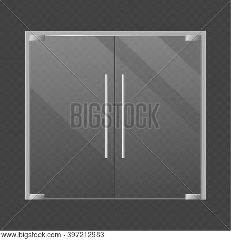 Realistic Closed Double Glass Store Doors. Modern Transparent Supermarket, Office Or Boutique, Shop