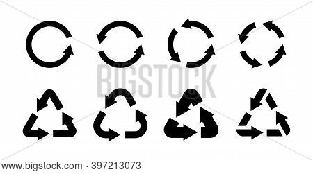 Recycling Icon Set. Black Eco Circle And Triangles With Arrows, Emblems For Organic Labels Collectio