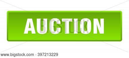 Auction Button. Auction Square Green Push Button