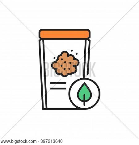 Packaging Organic Flax Seeds Color Line Icon. Pictogram For Web Page, Mobile App, Promo.