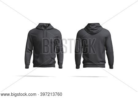 Blank Black Hoodie With Hood Mockup, Front And Back View, 3d Rendering. Empty Crewneck Hooded Sweat-