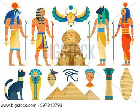 Ancient Egypt. Egyptian Culture Symbols And Sign Collection. Gods And Myth Creatures, Sacred Animals