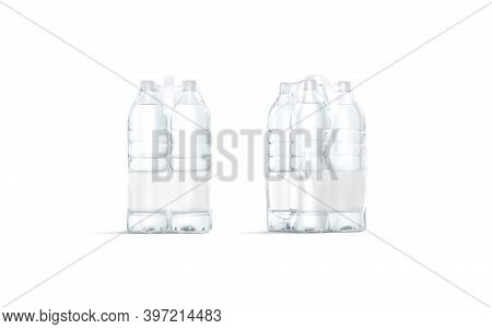 Blank Transparent Plastic Bottle In Pack With Handle Mockup, 3d Rendering. Empty Disposable Package