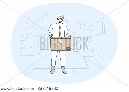 Contactless Delivery, Courier, Online Order Concept. Man Courier Deliveryman In Protective Costume W