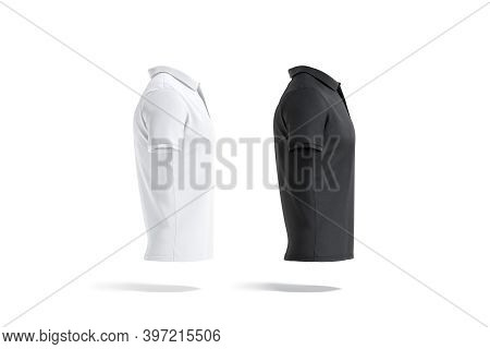 Blank Black And White Polo Shirt Mockup, Side View, 3d Rendering. Empty Male Textile T-shirt With Co