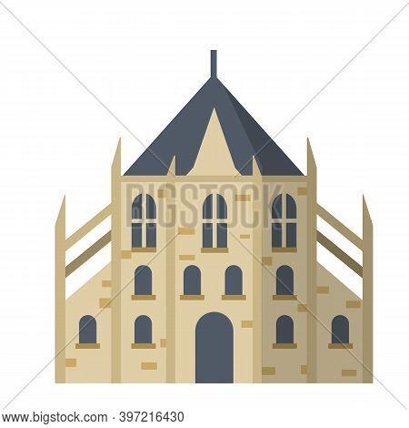 Catholic Old Medieval European Church Isolated On White