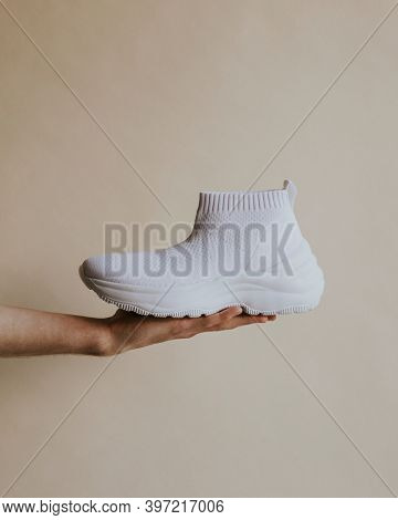 White simple knitted high top slip-on sneakers mockup