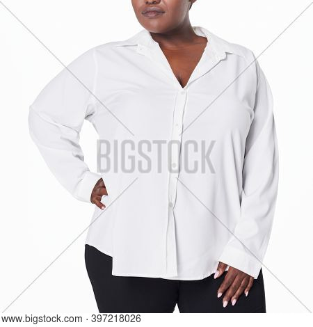 Plus size women's white shirt