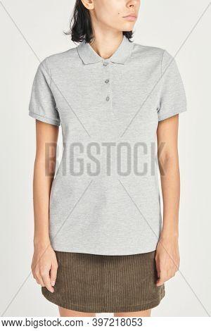 Women's gray polo shirt mockup outfit