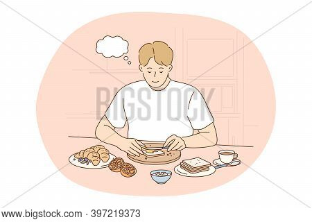 Healthy Food, Clean Eating, Nutrition Concept. Young Positive Man Cartoon Thinking About Benefits Of