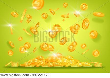 Golden Dollar Coins Vector Finance Background With Levitating Shining Money On Green. Casino And Lot