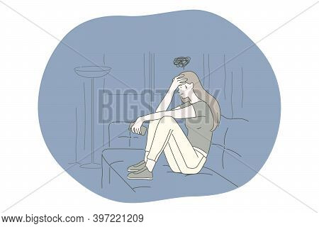 Sadness, Mental Depression, Bad News Concept. Young Unhappy Woman Sitting On Sofa Touching Forehead